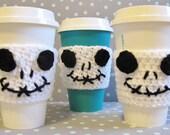 Jack Skellingtion~Crochet Cup Cozy/Sleeve~Drink Holder~Hot or Cold Beverage~Nightmare Before Christmas~Halloween~Birthday Gift