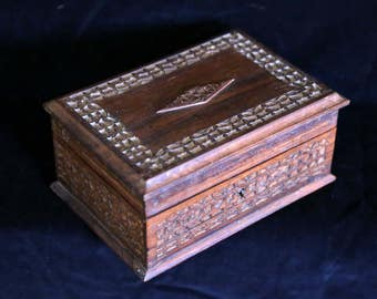 Carved Timber Jewellery box with insert