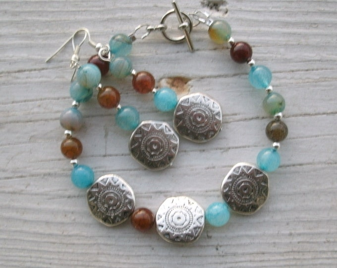 Western Flair Bracelet / matching earrings set - silver disks and blue/brown agate beads matching necklace shown in picture 5 available