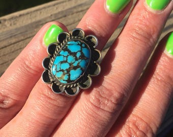 Native American Turquoise Flower Design Ring Sterling Silver Old Pawn