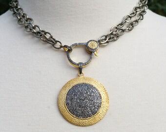 Pave Diamond Disc Pendant - Pave Diamond Pendant - Pave Diamond Clasp - Layering Necklace - Mixed Metals - Long Chain - Diamond Chain - Gift