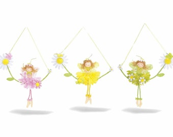 Flowers Fairies on Swing 3 pcs Assorted