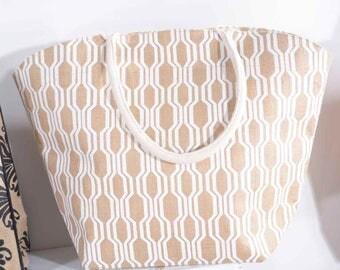 Jute Handbag Printed Diamond