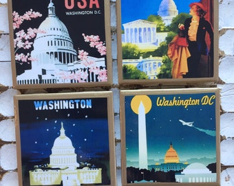 COASTERS!! Washington DC vintage travel poster coasters with gold trim