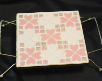 Vintage 1950's Mosaic Tile Trivet Mid Century Kitchen Dining Pink and WHite Tile Brass Gold Kitchenware Table Decor 1950's Mod Retro Bar
