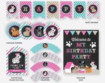 Instant Download, Puppy Party Package, Dog Party Package, Puppy Birthday Package, Dog Party Pack, Puppy Party Printables,Chalkboard(CKB.290)