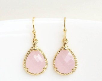 Ice Pink Teardrop Earrings, Pink Drop Earrings, Bridesmaid Gift Jewelry, Pink and Gold Earrings, Pink Drop Earrings, Pink Bridesmaid Earring
