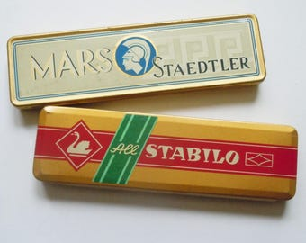 Pencil Tins / Vintage Tins in Great Condition from Mars / Staedtler and Stabilo / Clean Straight