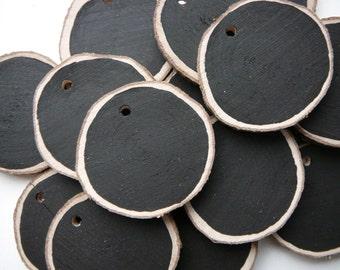 Chalkboard Wood Slice, Chalkboard Tag, Rustic wood black slice, Painted slice Set of 5 pcs.