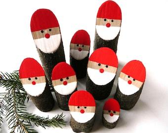 Santa Christmas Decor. Set of 5 pcs., Christmas Rustic Decorations, Wooden Christmas decorations, Wooden Santa