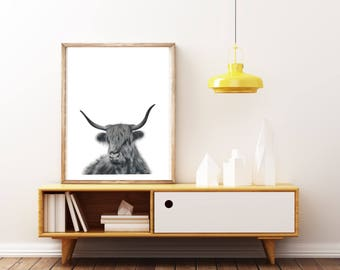 extra large wall art, large black wall art, art print, black and white, buffalo, cow, boho wall hanging, wall hanging boho, highland cow