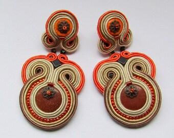 Soutache Earrings Beige - Orange