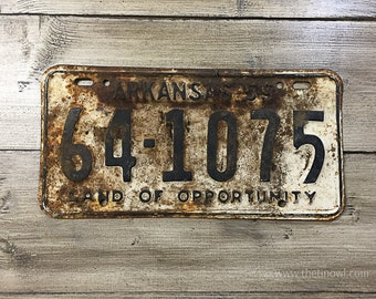 Vintage Arkansas License Plate 1959 | Black White Rusty | Man Cave Decor | Old Collectible | For Him | Garage