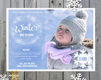 Winter mini session template - Christmas Photography mini session marketing board - Photography marketing board - INSTANT DOWNLOA-+D