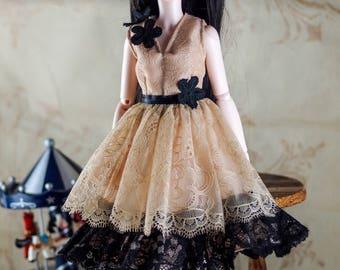 BJD doll slim MSD Minifee clothes clothing beige black dress