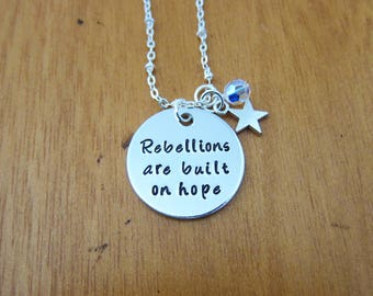 Rebellions are built on hope Necklace. Star necklace. Swarovski elements crystal. Hand Stamped jewelry. With Love From OC.