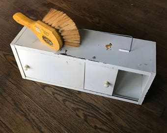 White Petite Metal Sliding Door Toolbox Handheld or Wall Mount Cabinet Vintage Industrial Mid-Century Garage Trinket Stash Box