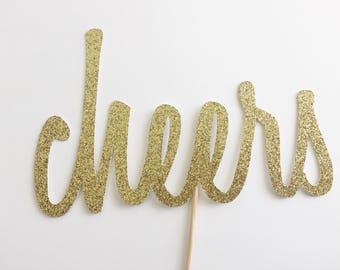 Cheers Cake Topper - Anniversary Cake - Gold Glitter Topper - Cheers - Congratulations Cake - Birthday Cake Topper - Wedding Cake Topper