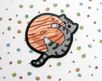 Space Cat Vinyl Sticker Large Size Kitty on Jupiter Planet Cat cute Sticker Car Sticker Bumper Sticker Laptop Decal