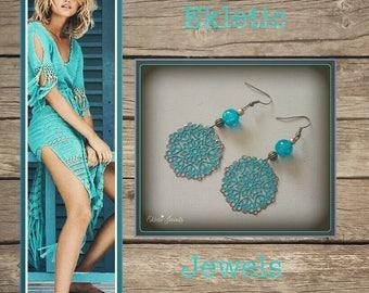 boho earrings-filigree earrings hand-painted-filigree earrings hand painted-lace earrings-teal and turquoise