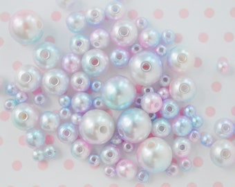 4mm-10mm Pastel Purple Pink Blue Kawaii Pearl Beads - set of 200