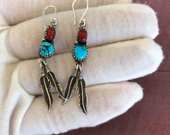 Navajo Kingman Turquoise Coral Sterling Silver Hanging Dangling Hook Post Earrings, 4g. Native American Indian Old Dead Pawn Tribal Boho