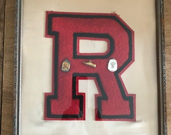 FREE SHIPPING - Vintage 1940s Framed Varsity Letter with Track Trophy/Award Charms
