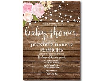 Rustic Baby Shower Invitation, Baby Shower Invite, Girl Baby Shower Invitation, Shower Invitation, Printable Baby Shower Invitation #CL102