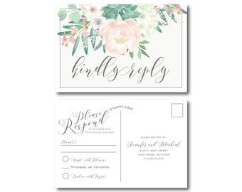 Vintage Wedding RSVP Postcard, Floral Rsvp, Vintage Floral, Floral Wedding, Vintage Wedding, RSVP Postcard, Wedding Postcard, RSVP #CL180