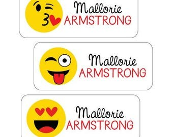 Emoji Name Labels, Personalized Waterproof Stickers for School, Daycare, Camp.  Dishwasher Safe