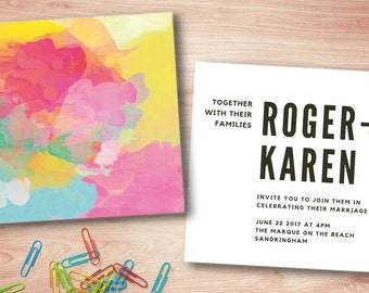 Watercolour | Invite | Wedding | Engagement | Paint | Modern | Printable | Digital