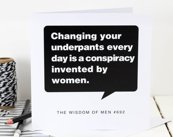 Funny Birthday Card For Men; 'underpants'; 18th Birthday Card; Card For Men; Card For Him; Funny Card For Son; GC143