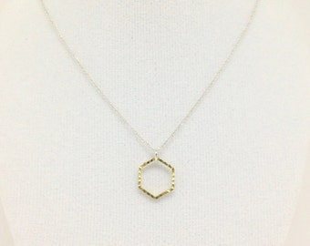Simple hexagon necklace, hex charm necklace, faceted honeycomb necklace, geometric pendant - elegant jewellery by Baytree Boutique