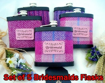 Bridesmaid gifts Set of five Harris Tweed hip flasks with leather label luxury gift or wedding favour bridal party with personalized labels