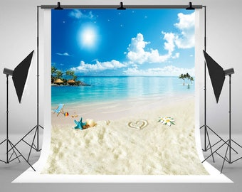 Wedding Starfish Beach Loungers Island Photography Background Newborn Photo Blue Sky White Clouds Studio Backdrops LK-1602
