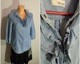 80s.Women denim Blouse Small Size