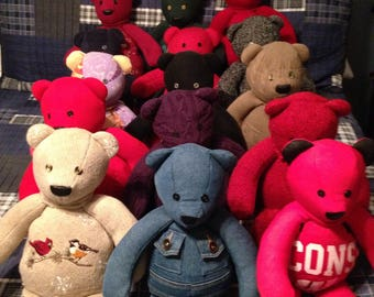 Memory Bears (made from clothing of love ones)