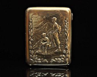 Antique original perfect silver russian miner worker decorated cigarette case