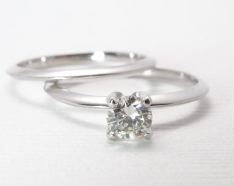 Wedding Set | Engagement Ring | Diamond | Recycled | Vintage Inspired