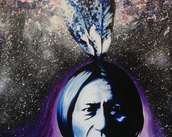 Giclee Canvas Print *embellished - Cosmic Sitting Bull