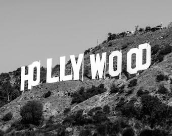 Hollywood Wall Art, Black Wall Art, Hollywood Print, Hollywood Photography, Hollywood Sign, Hollywood Art