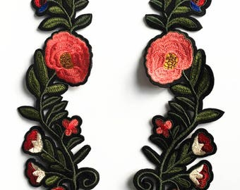 Graphic Floral Applique Pair of Fabric Patches