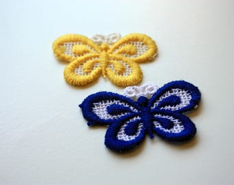 Set of 2 Sew On Butterfly  Patches , Sew On Yellow Butterfly  Patch,  Sew On Blue Butterfly Patch