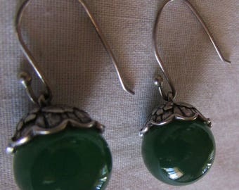 Sterling Silver and Green Glass Dangle Wire Earrings