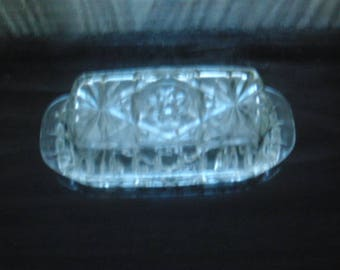 VTG Pressed glass covered butter dish