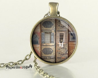 Library Necklace - Library Photo - Old Books Necklace - Reader Necklace  - (B3350)