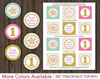 "Twinkle Twinkle Little Star Birthday Cupcake Toppers - Printable Birthday 2"" Cupcake Toppers"