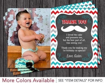 Mustache Thank You Card - Mustache Birthday Thank You Card