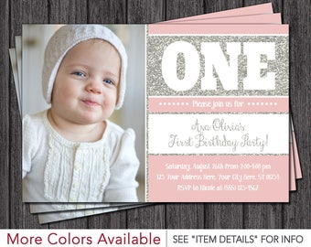 First Birthday Invitation - Blush Pink and Silver 1st Birthday Invitations