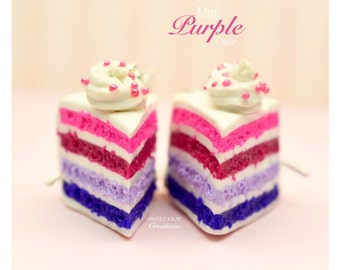Purple Cake Earrings Miniature Food Jewelry Polymer Clay Food Handmade Gift Girl Sterling Silver
